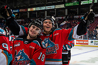 KELOWNA, BC - NOVEMBER 1:  Kyle Crosbie #18 and Devin Steffler #4 of the Kelowna Rockets head for the dressing room after the win against the Prince George Cougars at Prospera Place on November 1, 2019 in Kelowna, Canada. (Photo by Marissa Baecker/Shoot the Breeze)