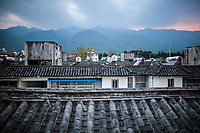 A view from the rooftop of Ye Yongqing's home in Dali, China, with the Cangshan Mountains in the background. Mr. Ye's home is in the center of downtown Dali.