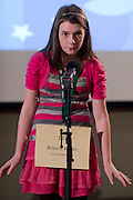 Brianna Brown of Fairland Middle School introduces herself during the Southeastern Ohio Regional Spelling Bee Regional Saturday, March 16, 2013. The Regional Spelling Bee was sponsored by Ohio University's Scripps College of Communication and held in Margaret M. Walter Hall on OU's main campus.