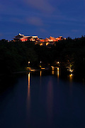 Photo shows Shuri Castle illuminated at night in Naha, Okinawa Prefecture, Japan, on June 24, 2012. Photographer: Robert Gilhooly