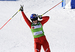 07.03.2014, Carmenna Extrempark, Arosa, SUI, FIS Weltcup Ski Cross, Arosa, im Bild Fanny Smith (SUI) jubelt im Ziel // during the FIS Ski Cross World Cup Carmenna Extrempark in Arosa, Switzerland on 2014/03/07. EXPA Pictures © 2014, PhotoCredit: EXPA/ Freshfocus/ Claudia Minder<br /> <br /> *****ATTENTION - for AUT, SLO, CRO, SRB, BIH, MAZ only*****