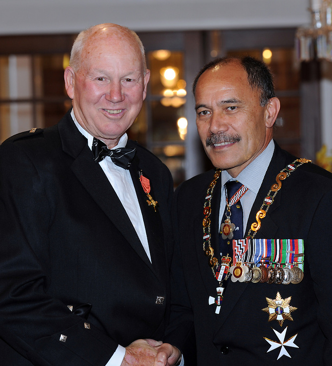 Ian MacRae, Napier, receives an Officer of the New Zealand Order of Merit from the Governor General Sir Jerry Mateparae at the Investiture ceremony at Government House, Wellington, New Zealand, Thursday, May 03, 2012. Credit:SNPA / Ross Setford