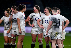 Sarah Bern of England Women with stands with teammates - Mandatory by-line: Robbie Stephenson/JMP - 16/03/2019 - RUGBY - Twickenham Stadium - London, England - England Women v Scotland Women - Women's Six Nations