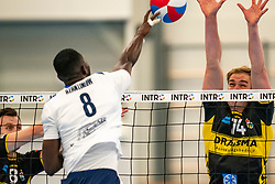 Freek de Weijer #8 of Dynamo, Wessel Blom #14 of Dynamo in action in the second round between Sliedrecht Sport and Draisma Dynamo on February 29, 2020 in sports hall de Basis, Sliedrecht