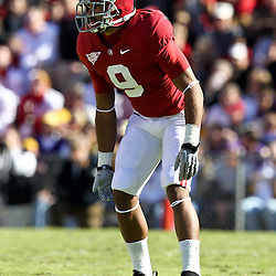 November 6, 2010; Baton Rouge, LA, USA; Alabama Crimson Tide cornerback Phelon Jones (9) lines up against the LSU Tigers during the first half at Tiger Stadium.  Mandatory Credit: Derick E. Hingle