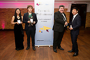 Jonathan Thorne, Founder and CEO of the Duet Group with composer Adam Possener, Marie Sato (flute) and Noah Zhou (piano), winners of the 2018 RPS Duet Prizes for young instrumentalists and composers<br /> Photo credit required:  Simon Jay Price