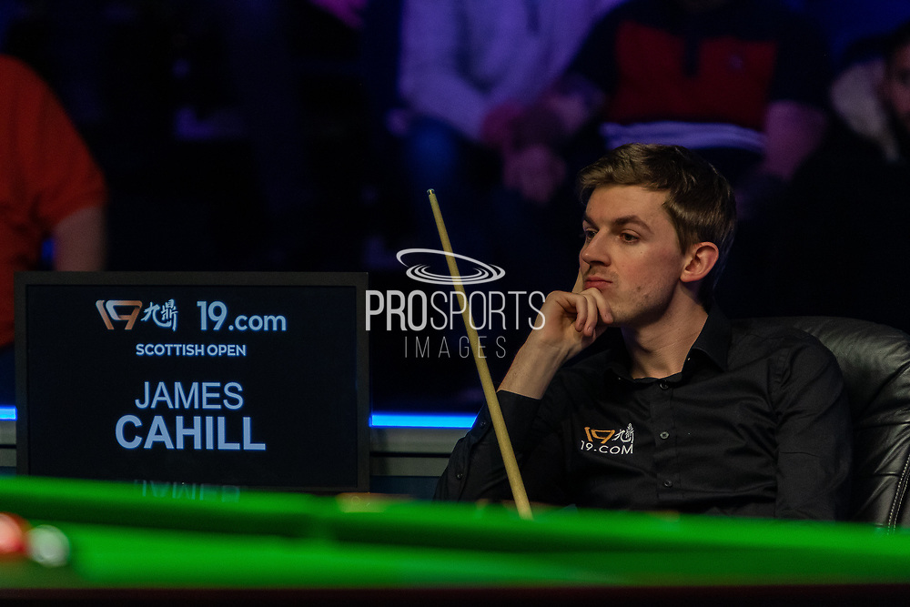 Day 3 of the 19.com World Snooker Home Nations Scottish Open. Action from the Evening session Ronnie O'Sullivan vs James Cahill during the World Snooker Scottish Open at the Emirates Arena, Glasgow, Scotland on 11 December 2019.<br /> <br /> James Cahill can do nothing to stop the onslaught of Ronnie 'The Rocket' O'Sullivan as he storms into a commanding lead in the 1st frame