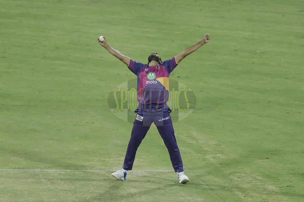 Imran Tahir of Rising Pune Supergiant celebrate the wicket  of Axar Patel  of Kings X1 Punjab during match 4 of the Vivo 2017 Indian Premier League between the Kings X1 Punjab and the rising Pune Supergiant held at the Holkar Cricket Stadium in Indore, India on the 8th April 2017<br /> <br /> Photo by Arjun Singh - IPL - Sportzpics