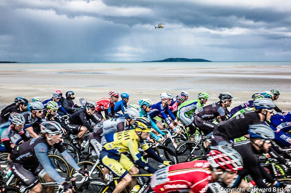 11.05.2014. Malahide, Ireland. The Giro D'Italia passes through the Irish town of Malahide, Dublin at the start of the classic 2014 tour. Opposite Lambay Island