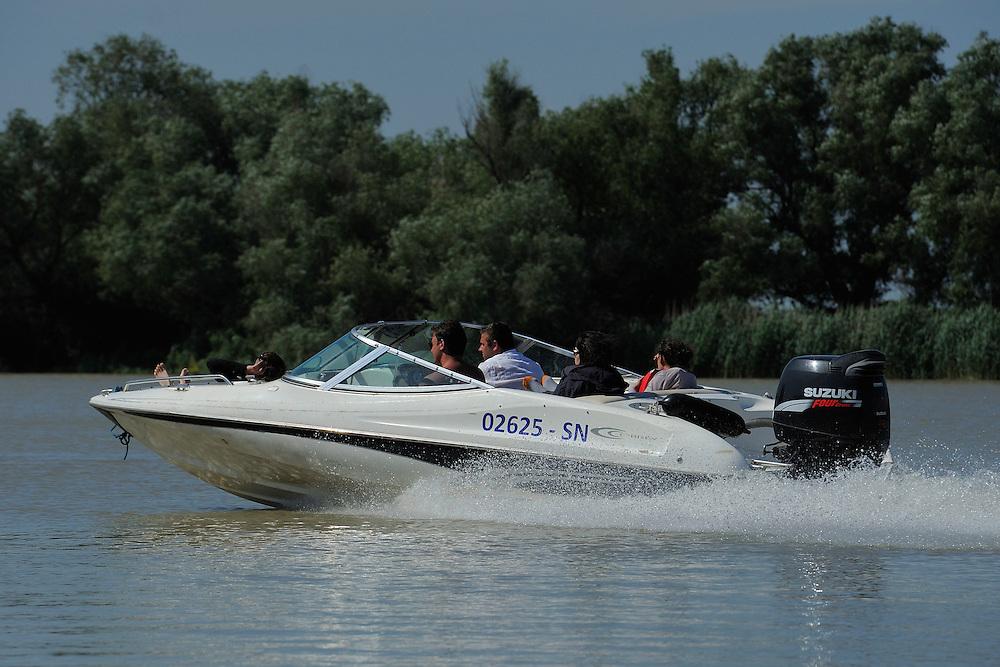 Boating tourism, Danube delta rewilding area, Romania