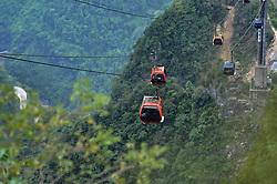 ZHANGJIAJIE, Sept. 7, 2016 (Xinhua) -- People take cable cabins at the Tianmen Mountain National Forest Park in Zhangjiajie, central China's Hunan Province, Sept. 7, 2016.  (Xinhua/Long Hongtao) (zwx) (Credit Image: © Long Hongtao/Xinhua via ZUMA Wire)