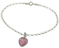 jewel encrusted heart gem on a bracelet