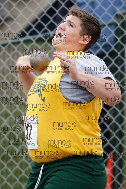 Matthew Rosati of Chaminade College - Toronto competes at the 2013 OFSAA Track and Field Championship in Oshawa Ontario, Friday,  June 7, 2013.<br /> Mundo Sport Images/ Geoff Robins