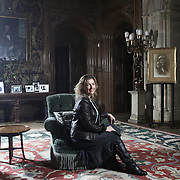 Lady Canarvon of Highclere Castle in her home where Downton Abbey was filmed
