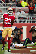 San Francisco 49ers cornerback Ahkello Witherspoon (23) celebrates a defensive stop against the Seattle Seahawks at Levi's Stadium in Santa Clara, Calif., on November 26, 2017. (Stan Olszewski/Special to S.F. Examiner)