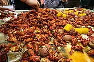 Crawfish served at the L'eau Est La Vie Camp during a party.