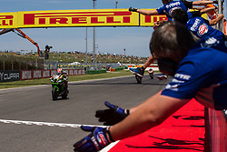July 8, 2018 - Misano, RN, Italy - Jonathan Rea of Kawasaki Racing Team complete the double and win race 2 of the Motul FIM Superbike Championship, Riviera di Rimini Round, at Misano World Circuit ''Marco Simoncelli'', on July 08, 2018 in Misano, Italy  (Credit Image: © Danilo Di Giovanni/NurPhoto via ZUMA Press)