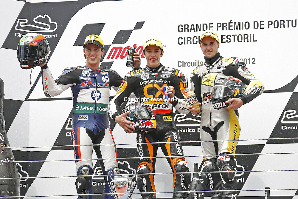 06.05.2012. Estoril, Portugal. Moto Grand Prix of Estoril. in The Picture P Espargaro m Marquez and T Luthi on the podium
