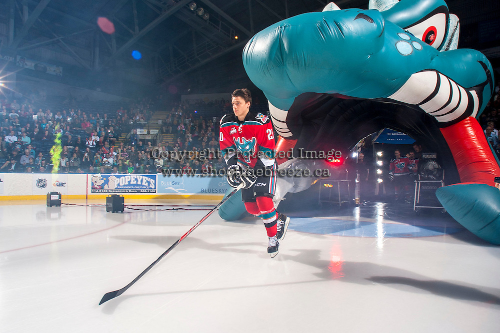 KELOWNA, CANADA - SEPTEMBER 21:  Austin Glover #20 of the Kelowna Rockets enters the ice during the regular season home opener against the Kamloops Blazers at the Kelowna Rockets on September 21, 2013 at Prospera Place in Kelowna, British Columbia, Canada (Photo by Marissa Baecker/Shoot the Breeze) *** Local Caption ***