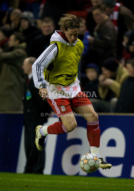 LIVERPOOL, ENGLAND - Tuesday, February 19, 2008: Liverpool's Fernando Torres warms-up before the UEFA Champions League First Knockout Round 1st Leg match at Anfield. (Photo by David Rawcliffe/Propaganda)