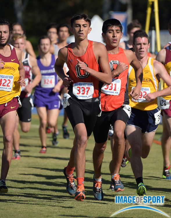 Nov 14, 2015; Claremont, CA, USA; Austin Sankaran (337) and Jovani Barajas (331) of Occidental run during the 2015 NCAA Division III West Regionals cross country championships at Pomona-Pitzer College.