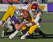 MANHATTAN, KS - NOVEMBER 22:  Defensive end Ian Campbell #98 of the Kansas State Wildcats sacks quarterback Austen Arnaud #4 of the Iowa State Cyclones during the second quarter on November 22, 2008 at Bill Snyder Family Stadium in Manhattan, Kansas.  Kansas State won 38-30.  (Photo by Peter G. Aiken/Getty Images)