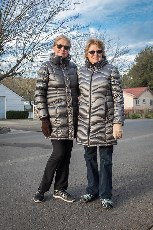 """It's the kind of day for a puffy coat.""  -Helga Kimball and Marilyn Glaim are out for a walk on Cedar Street on a brisk morning  in Calistoga"