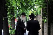 Two elderly Orthodox Jewish men with beards wearing black coats and hats chatting on the pavement of a tree lined street called Dunsmuir road in Stamford Hill, London.