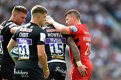 Richard Wigglesworth of Saracens commiserates Jack Nowell of Exeter Chiefs after an injury - Mandatory byline: Patrick Khachfe/JMP - 07966 386802 - 01/06/2019 - RUGBY UNION - Twickenham Stadium - London, England - Exeter Chiefs v Saracens - Gallagher Premiership Final