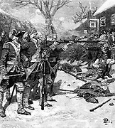 Boston Massacre, 5 March 1770.  Skirmish between British troops and crowd in Boston Massachusetts. Five protesters killed, the first being Crispus Attucks a black sailor and former slave. Wood engraving, 1883