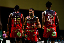 Lewis Champion of Bristol Flyers laughs with Marcus Delpeche of Bristol Flyers and Levi Bradley of Bristol Flyers - Photo mandatory by-line: Ryan Hiscott/JMP - 27/10/2019 - BASKETBALL - Plymouth Pavilions - Plymouth, England - Plymouth Raiders v Bristol Flyers - British Basketball League Cup
