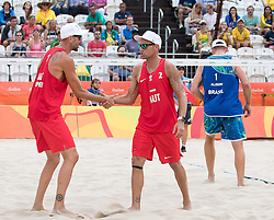 08.08.2016, Copacabana Arena, Rio de Janeiro, BRA, Rio 2016, Olympische Sommerspiele, Beachyolleyball, Herren, im Bild v.l. Clemens Doppler (AUT, 1), Alexander Horst (AUT, 2) // Clemens Doppler of Austria (L) and Alexander Horst of Austria (R) during the Mens Beachvolleyball Tournament of the the Rio 2016 Olympic Summer Games at the Copacabana Arena in Rio de Janeiro, Brazil on 2016/08/08. EXPA Pictures © 2016, PhotoCredit: EXPA/ Johann Groder