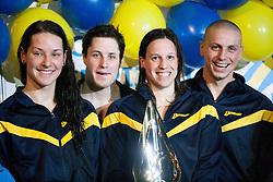 Ursa Bezan, Tobert Vovk, Anja Carman and Emil Tahirovic of PK Triglav Kranj during swimming competition Dr.Fig Kranj 2013 on January 19, 2013 in Olympic pool, Kranj Slovenia. (Photo By Vid Ponikvar / Sportida)