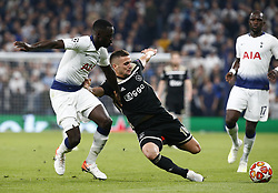 April 30, 2019 - London, England, United Kingdom - L-R Tottenham Hotspur's Davinson Sanchez and Susan Tadic of Ajax .during UEFA Championship League Semi- Final 1st Leg between Tottenham Hotspur  and Ajax at Tottenham Hotspur Stadium , London, UK on 30 Apr 2019. (Credit Image: © Action Foto Sport/NurPhoto via ZUMA Press)