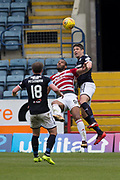 5th May 2018, Dens Park, Dundee, Scotland; Scottish Premier League football, Dundee versus Hamilton Academical; Darren O'Dea of Dundee heads clear from Marios Ogboe of Hamilton Academical
