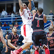 MOBILE, AL - DECEMBER 29:  Mychal Ammons #13 of the South Alabama Jaguars attempts a shot over Rakeem Dickerson #1 of the Arkansas State Red Wolves at USA Mitchell Center on December 29, 2012 in Mobile, Alabama. Arkansas State defeated South Alabama 63-54. (Photo by Michael Chang/Getty Images) *** Local Caption *** Mychal Ammons;Rakeem Dickerson