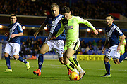 Birmingham City defender Michael Morrison tracks Huddersfield Town defender Ben Chilwell during the Sky Bet Championship match between Birmingham City and Huddersfield Town at St Andrews, Birmingham, England on 5 December 2015. Photo by Alan Franklin.