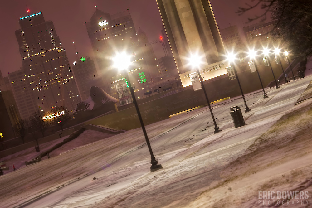 Kansas City's downtown area and Liberty Memorial/National World War One Museum after snowfall, February 2015