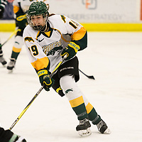 2nd year forward Sarah Hornoi (19) of the Regina Cougars in action during the Women's Hockey home game on December 1 at Co-operators arena. Credit: Arthur Ward/Arthur Images