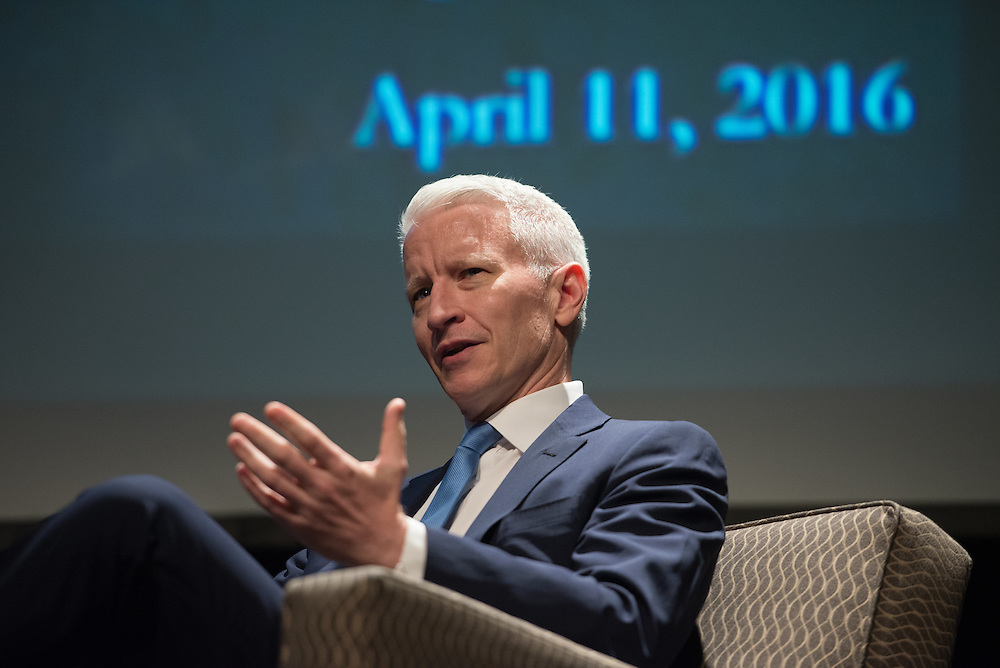 4/11/16 – Medford/Somerville, MA – Jonathan Tisch (A'76) speaks with CNN anchor Anderson Cooper for the 11th Annual Edward R. Murrow Forum on Issues in Journalism in Cohen Auditorium on April. 11, 2016. (Sofie Hecht / The Tufts Daily)