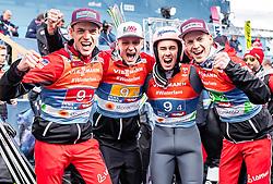 24.02.2019, Bergiselschanze, Innsbruck, AUT, FIS Weltmeisterschaften Ski Nordisch, Seefeld 2019, Skisprung, Herren, Teambewerb, im Bild Silbermedaillengewinner Oesterreich: v.l.: Philipp Aschenwald (AUT), Daniel Huber (AUT), Stefan Kraft (AUT), Michael Hayboeck (AUT) // Silvermedailist Philipp Aschenwald of Austria Daniel Huber of Austria Stefan Kraft of Austria Michael Hayboeck of Austria during the competition jump for the men's skijumping Team competition of FIS Nordic Ski World Championships 2019 at the Bergiselschanze in Innsbruck, Austria on 2019/02/24. EXPA Pictures © 2019, PhotoCredit: EXPA/ JFK
