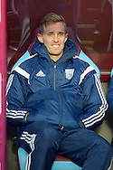 Darren Fletcher, the West Bromwich Albion player sitting in the dugout before k/o. The FA cup, 6th round match, Aston Villa v West Bromwich Albion at Villa Park in Birmingham, Midlands on Saturday 7th March 2015<br /> pic by John Patrick Fletcher, Andrew Orchard sports photography.