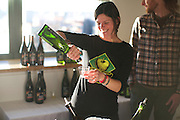 NEW YORK, NY - March 18, 2015: A vendor pours samples of hard cider at the Edible Manhattan event Good Cider in Tribeca.<br /> <br /> CREDIT: Clay Williams for Edible Manhattan.<br /> <br /> © Clay Williams / claywilliamsphoto.com
