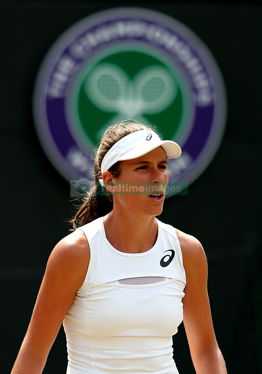 Johanna Konta during her match against Caroline Garcia on day seven of the Wimbledon Championships at The All England Lawn Tennis and Croquet Club, Wimbledon.