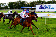 Secret Return ridden by Paddy Bradley and trained by Robyn Brisland wins the Visit Valuerater.co.uk For Free Tips Handicap with Tell William ridden by Martin Dwyer and trained by Marcus Tregoning in second - Mandatory by-line: Dougie Allward/JMP - 10/07/2020 - HORSE RACING - Bath Racecourse - Bath, England - Bath Races