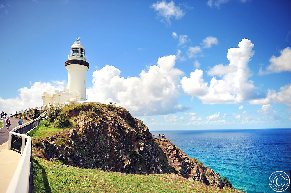 Byron Bay lighthouse located at the most eastern point of Australia in the state of NSW.The pacific ocean is blue and inviting.