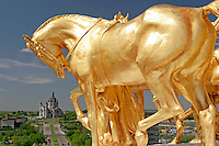 Golden Horse Statue atop of Capitol Building with Cathedral of St. Paul in the Background, Saint Paul, Minnesota