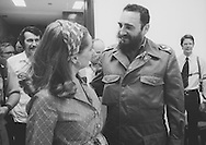 Fidel Castro talks to Barbara Walters  in June 1975. Photo by Dennis Brack