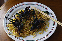 ca. September 1998, Bangkok, Thailand --- A Thai dish of fried tarantulas and noodles in Bangkok. --- Image by © Owen Franken/CORBIS