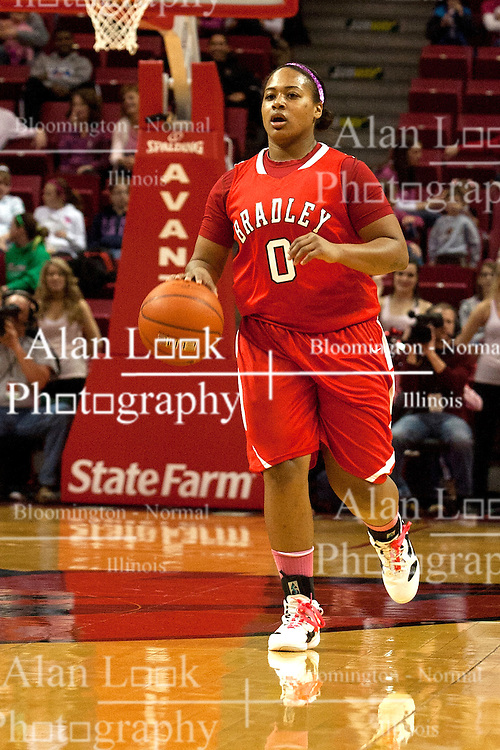 12 February 2012:  Shronda Butts during an NCAA women's basketball game Where the Bradley Braves lost to the Illinois Sate Redbirds 82-63.  It was Play 4Kay day in honor of the cancer research fund set up by Coach Kay Yow at Redbird Arena in Normal IL